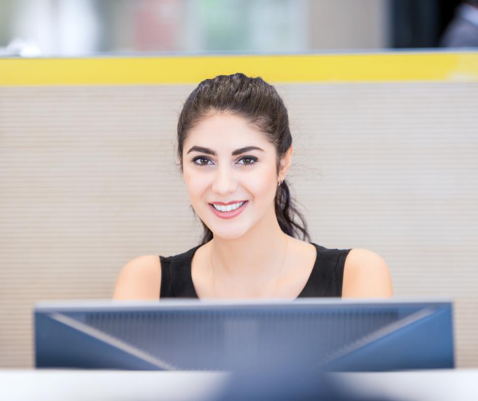 friendly woman at computer